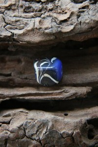 Black blue and white square dreadlock bead